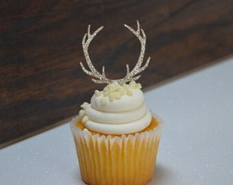 glitter antler cupcake toppers set of 12 glitter party supplies birthday party