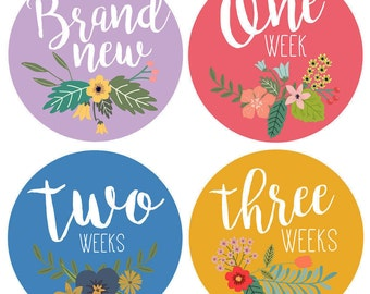Newborn Baby Weekly Stickers - Baby Month Stickers for Girls - Floral Bouquet- Weeks - Baby flower age stickers