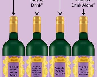 "Friends TV Show Theme | Wine Bottle Labels | Peephole Frame | 4 Pack | 3"" by 4"" | Digital Download"
