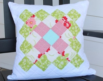 Quilted Pillow Cover, Decorative Couch Pillow, Home Decor Pillow