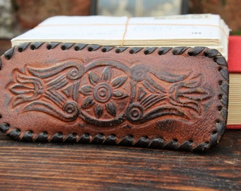 Eyeglasses Case - Sunglasses Case - Leather Eye Glasses Case - Vintage Embossed Leather Glass Case - Brown Sunglass Pouch - Nar Mag