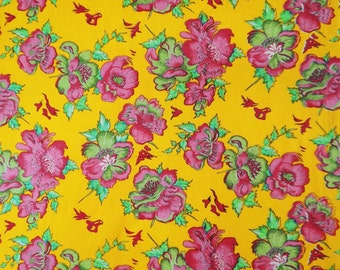 "Dress Fabric, Floral Print, Rayon Fabric, Sewing Decor, Yellow Fabric, Quilt Material, 45"" Inch Apparel Fabric By The Yard ZBR12"