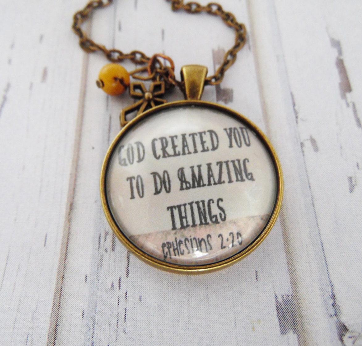 Do Amazing Things: God Created You To Do Amazing Things Necklace Encouragement
