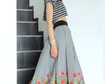 Maxi Skirt / Striped Skirt With Floral Print / Boho Skirt by FabraModaStudio / SO205