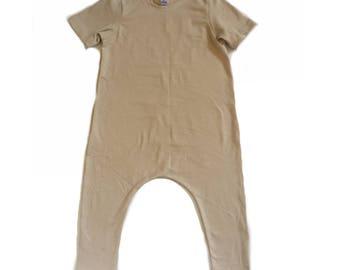 Nude Romper- Short or Long Sleeve | spring romper, harem romper, baby onesie, solid romper