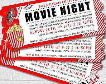 Movie Invitation, Movie Night Party, Movie Birthday Party Invitation, Outdoor Movie Invite, Movie and Popcorn Invite, Cinema | PRINTABLE