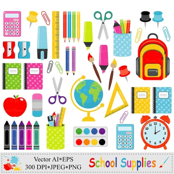 School Supplies Clip Art, Back to School Graphics ...