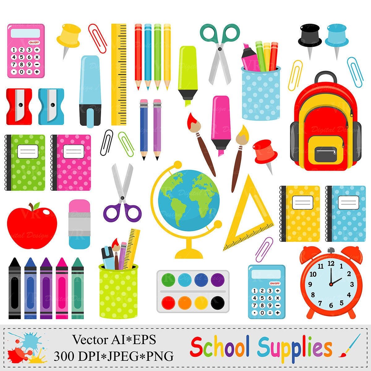 Clipart school supplies