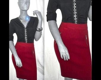 Alfani Business Knee Length Zipper Embellishments Solid Red Career Skirt XL