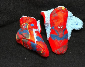 Spiderman No Slip Gripper Slipper/Booties Stay On Snap Close Plush Liner
