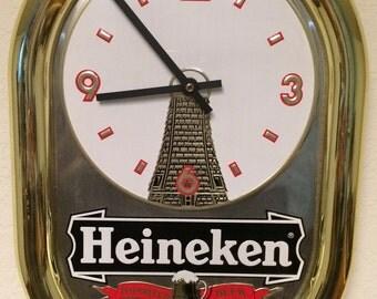 Vintage Heineken Beer Sign, Vintage Heineken Beer Clock, Vintage Beer Sign, Vintage Beer Clock, Beer Sign, Beer Clock, Bar Sign, Man Cave