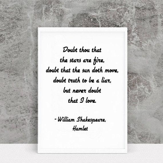 Shakespeare Quote Shakespeare Print Shakespeare Hamlet