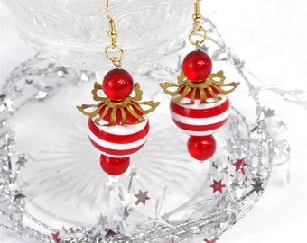 christmas earrings, red earrings, candy cane earrings, peppermint, Whoville  cocktail earrings, christmas jewelry, gold holiday earrings