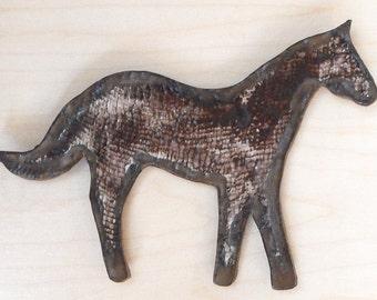 Stoneware Horse Wall Sculpture Brown Handmade Pottery