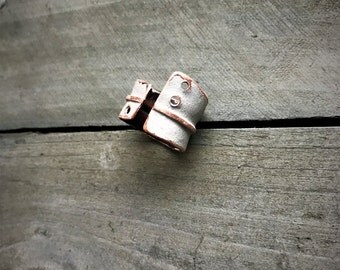 Painted Copper Ring - adjustable wide handmade artistic fold formed unique one of a kind hand painted matte white ring