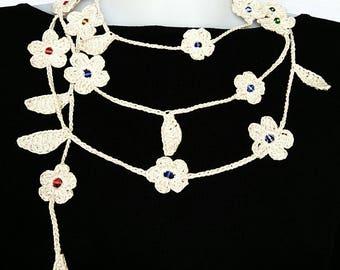 Crochet necklace, beaded crochet necklace, oya necklace,  crochet flower necklace, crochet belt , crochet flower ivory necklace