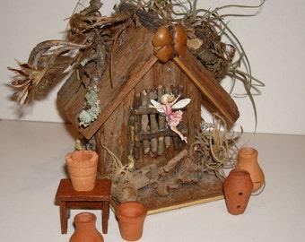 Five Vintage Miniature Dollhouse Clay Pots for Plants.  Scale 1:12  Fairy House Accessories!!