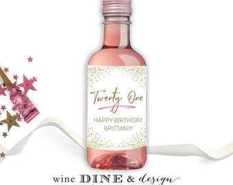 Mini Wine Labels/Birthday Party/Favors/Happy Birthday