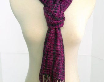 lightweight hand woven scarf, pink, purple, black wool scarf, spring scarf, infinity scarf, mother's day gift , handwoven by SpunWool