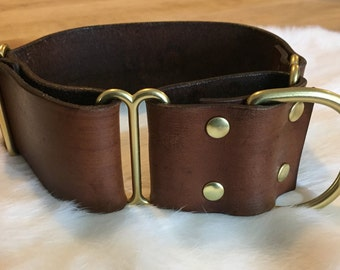 Personalized 2 Inch Wide Brown Leather Martingale Dog Collar With Name