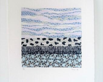 Linocut Landscape, Abstract Art Print, Original Linocut, Blue Print, Sea Linoprint Art, Wall Art Gift, Block Print Art, Home Decor Landscape