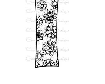Letter I Alphabet Flowers SVG / JPEG / PNG /pdf / use with Silhouette Studio and Cricut Design Space - Commercial Use - Adult Coloring Page