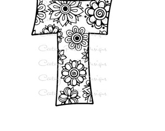 Letter T Alphabet Flowers SVG / JPEG / PNG /pdf / use with Silhouette Studio and Cricut Design Space - Commercial Use - Adult Coloring Page