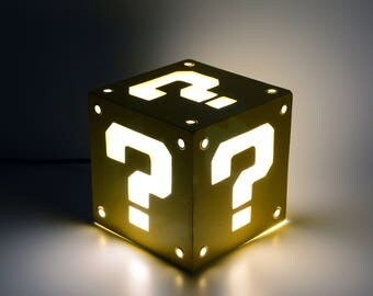Ambient light of Question Block from Super Mario Bros. Decoration lamp, home decor, illumination, wood. Nintendo, game, videogame, geek.