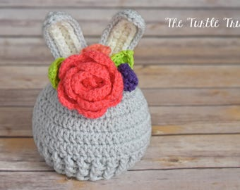 Floral Baby Bunny Hat, Crochet Bunny Beanie, Baby Bunny Hat with Flowers, Newborn, 0-12 months