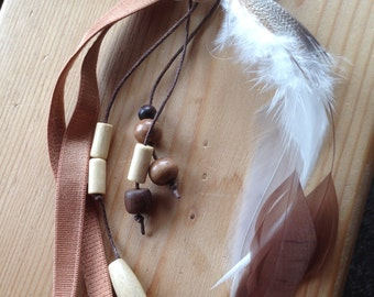 Hair jewelry, tone of beige, mounted on elastic head band, leather flower, feathers, Rooster, boho chic