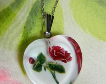 Vintage Reverse Carved Lucite Rose Necklace Sterling Silver - Reverse Carved Rose Necklace Sterling Silver