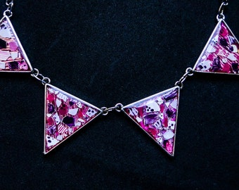 Purple violet mosaic triangle  chain necklace