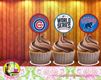 Custom Chicago Cubs stickers, Cubs toppers, cubs labels, Cubs Party, World Series Party, Chicago Cubs, cubs birthday