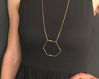Graphic necklace, unique piece / / gold end 18 k / / PE 17 - collection #Points line