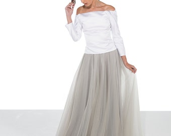 Grey Tulle Wedding Skirt / Tulle Skirt / Grey Wedding Skirt / Bridal Separates / Wedding Separates/ Custom Options / Rasbery Pavlova
