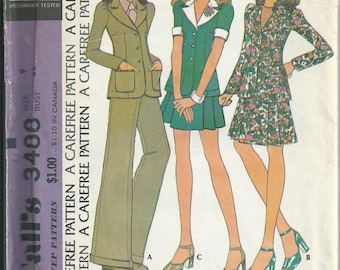 McCall's Sewing Pattern Vintage 3488 Juniors Three Piece Suit Unlined Jacket Narrow Shoulder Look Size 9 Bust 32 Unused 1973