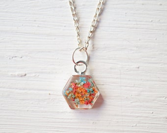 Real Pressed Flower and Resin Necklace in Orange Red Blue Mix