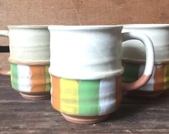 Set of 3, Mid- Century, Terra Cotta, Made in Japan, Coffee Mugs, Green Mugs, Retro Kitchen, Stoneware, Stacking Mugs, Cool Coffee Mugs, MCM.
