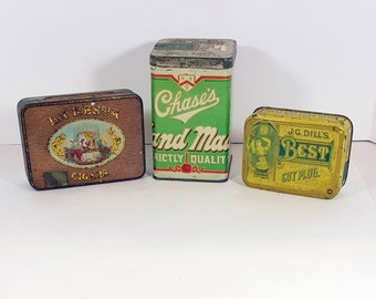 VINTAGE TOBACCO TIN  Antique Tins Tax Stamp Metal Cigar Box Cigar Tin Choose One of 2 Fathers Day Gift