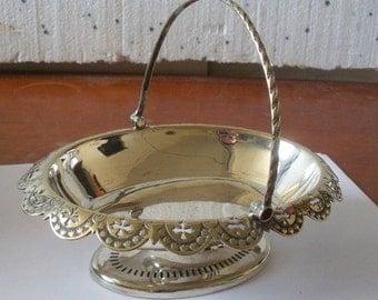 Gorgeous Antique Silver Plated BonBon  Basket with Handle