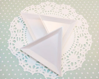 3pc White Bead and Rhinestone Sorting Tray 74mm Plastic Triangle Stacking Beading Jewelry Organization Craft DIY