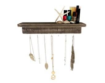 Reclaimed Wood Necklace Holder with Shelf - dark wood shelf floating shelf floating shelves bathroom shelf nail polish rack necklace hanger