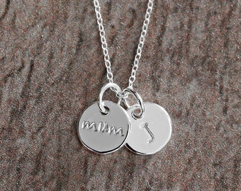 Made To Order, Hand Stamped Necklace, Custom Initial Necklace, Mom To Be Gift, Baby Shower Gift, Personalised Gift Mum,Silver Charm Necklace