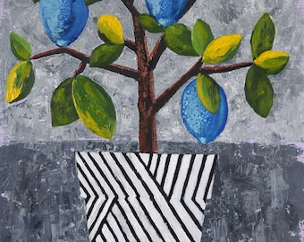 Original modern painting Abstract oil painting Contemporary art Lemons canvas painting