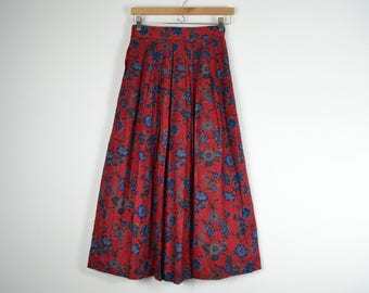 80s Red Floral Pleated Skirt