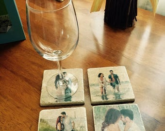 Personalized Picture Coasters - Set Of 4 Natural Stone Tile Coasters Custom Made