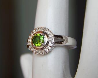 Natural Green Tourmaline & White Topaz Ring. Green Tourmaline Ring, Stylish Sterling Silver Ring, bridesmaid Gift set bridal wedding ring,