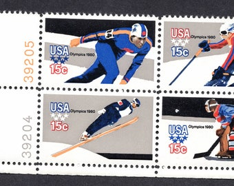 1980 Olympic Winter Sports Postage Stamps Unused Block