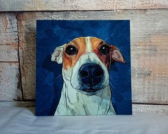 Custom pet portrait art on canvas, dog portrait in pop art style, vivid digital pet painting based on photo (jack russell)