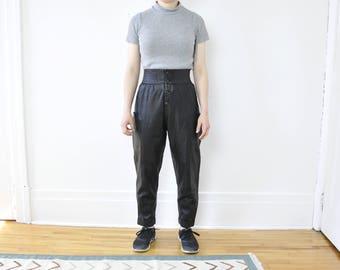 80s Leather High Waist Pants / Lambskin / Size XS / 2